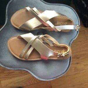 Rose gold flat sandals